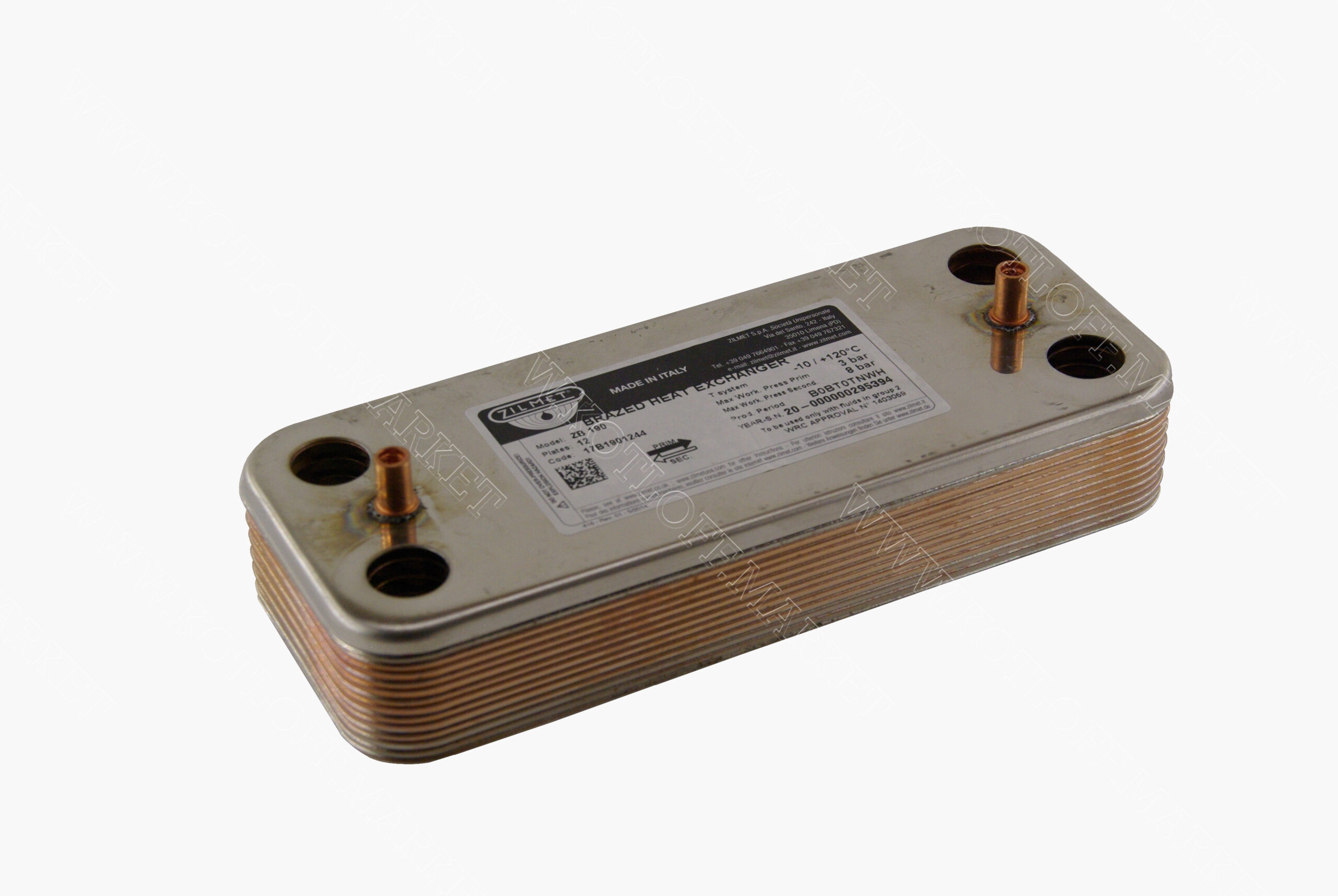 Теплообменник вторичный Zilmet (192x142MM) 12  пластин. 17b1901244